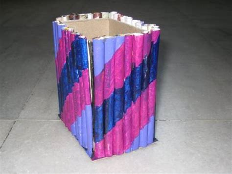 How To Make A Pen Stand Using Paper - newspaper pen stand paper crafts scrapbooking atcs