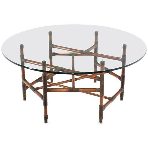 copper pipe and fitting base glass top coffee table