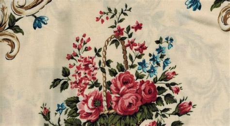 Shabby Chic Country 3722 by Coupon Tissu Neuf L 233 Ger Type Viscose Motif Panier De Roses