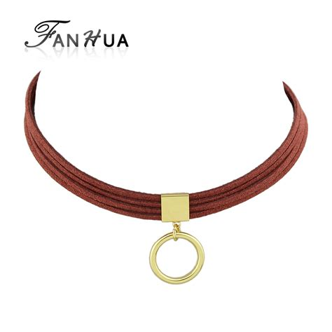 Choker Black Necklace Polos fanhua velvet choker black brown winered leather