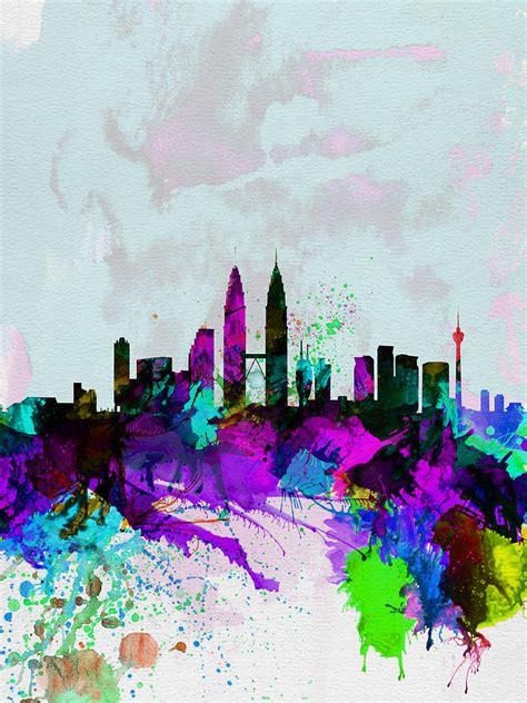 acrylic paint kuala lumpur kuala lumpur watercolor skyline painting by naxart studio