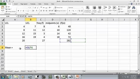 Excel Frequency Table by How To Calculate Standard Deviation From A Frequency Table