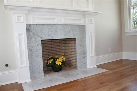 White Cabinet Kitchen Ideas by Carrara Marble Fireplace Traditional New York By La