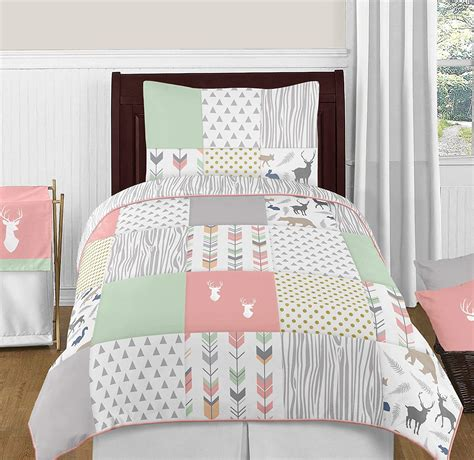 woodsy deer girls  piece kids twin bedding set kids arrow rustic animal   ebay