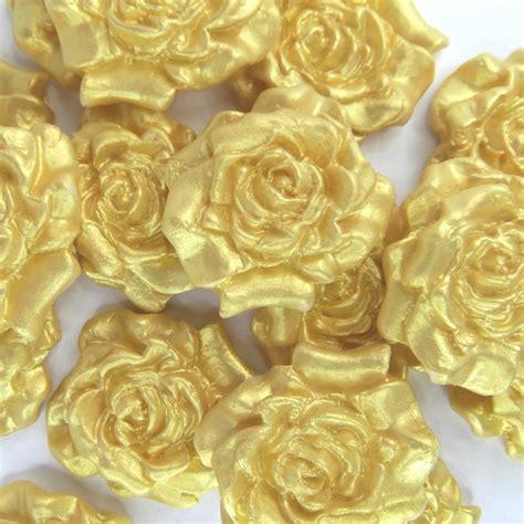 Sugar Cake Decorations by 12 Gold Pearl Sugar Roses Edible Sugarpaste Golden Wedding