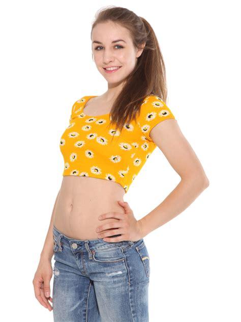 Daisy Floral Print Cap Sleeve Crop Top Midriff Belly Shirt