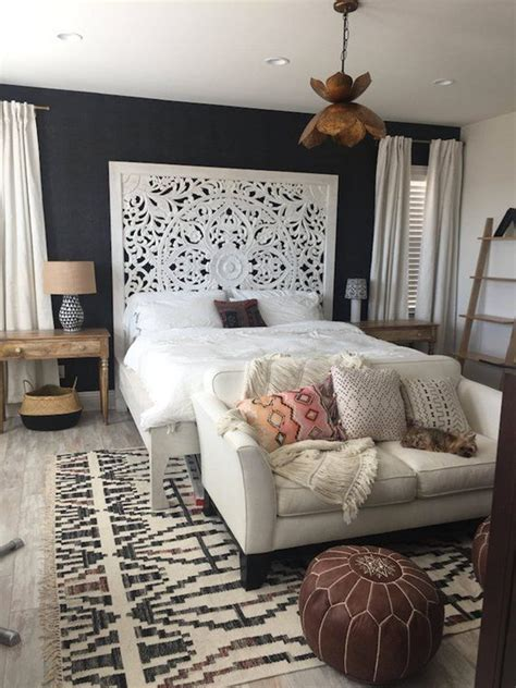 large king size bed teak wood bohemian headboard