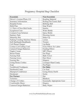 printable pregnancy to do list printable pregnancy hospital bag checklist