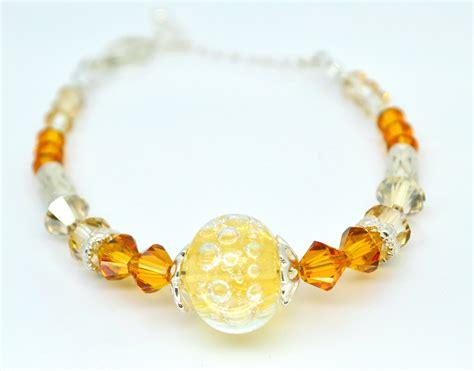 yellow beaded bracelet orange and yellow bracelet lwork bracelet