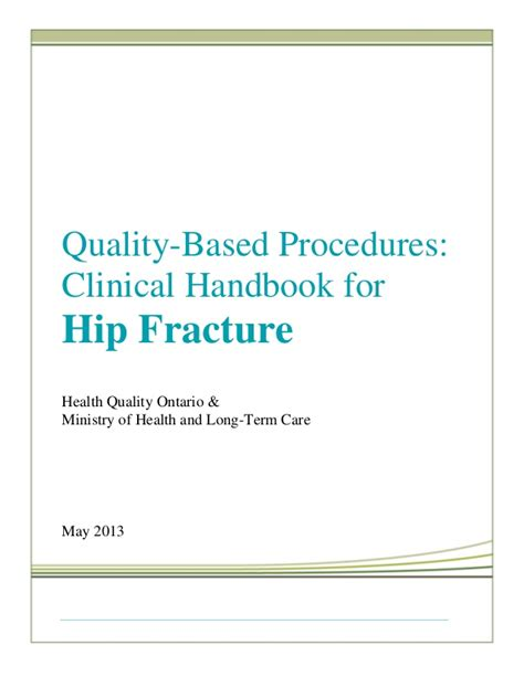 Mba Handbook For Healthcare Professionals by Quality Based Procedures Clinical Handboook For Hip Fracture