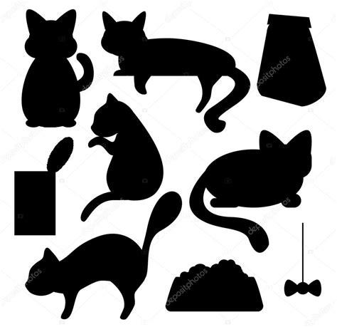 gatto clipart gatti e gatto cibo silhouette vector clipart vettoriali