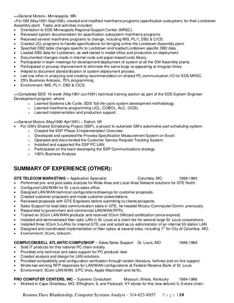 Computer Network Analyst Sle Resume by Computer Systems Analyst Resume Sle 28 Images Sle Resume For The Post Of Computer 28 Images