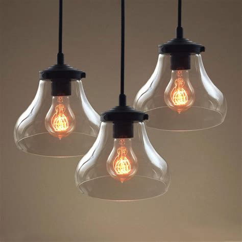 Clear Glass Shades For Pendant Lights Vintage Rustic Glass Bell Shade Hanging Pendant L Clear Glass Edison Loft L Chandelier