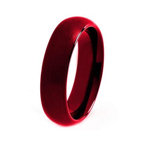 Red Tungsten Ring, Red Men Tungsten Rings, Red Wedding