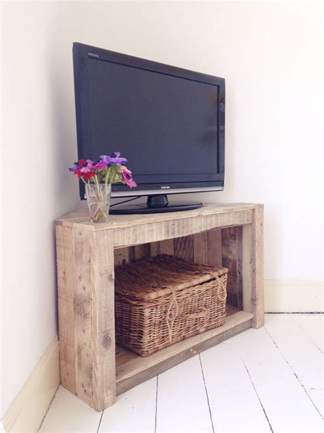 Handmade Tv Cabinets - handmade rustic corner table tv stand reclaimed and recycled