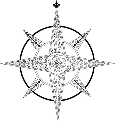 compass rose coloring page clipart best