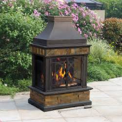Patio Wood Burning Fireplace by Sunjoy Heirloom Outdoor Patio Wood Burning Slate Fireplace