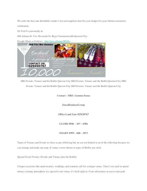 Budget Wedding Quezon City by Affordable Kiddie Venues Events Center Quezon City
