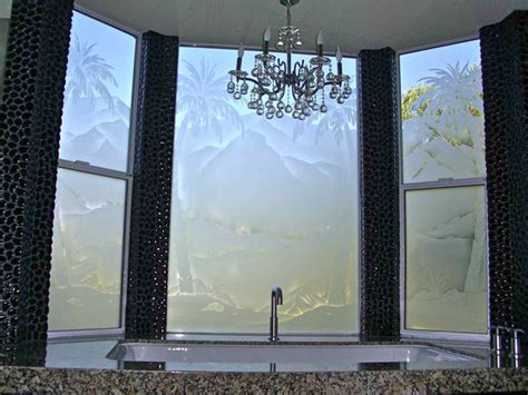 frosted glass patterns for bathrooms palm tree desert landscape bathroom windows frosted