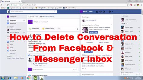 fb inbox how to delete conversation from facebook message inbox and