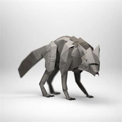 Origami Wolf Folding - origami wolf search 3d designs