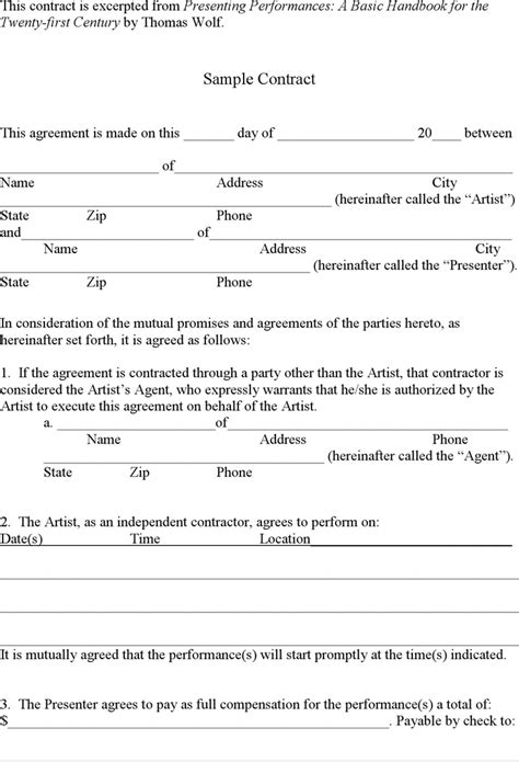 download simple contract template for free tidyform