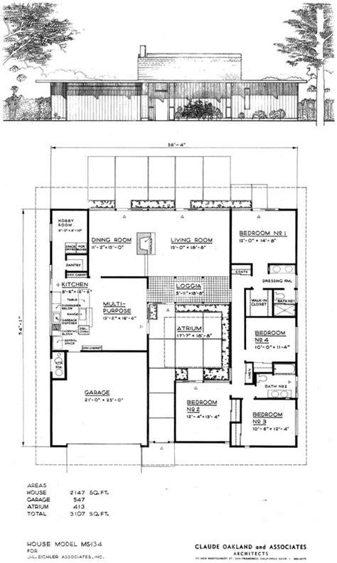 eichler atrium floor plan 26 best eichler floor plans images on pinterest