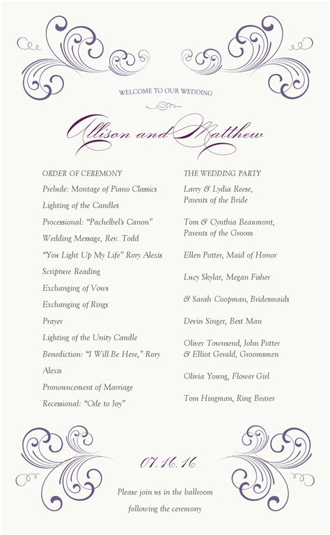 one page wedding program template swirl wedding program