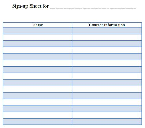 best photos of sign up sheet template blank blank sign