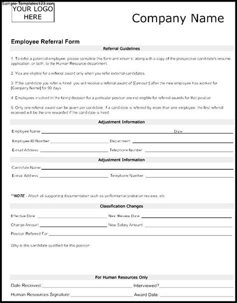 employee referral form template sle templates