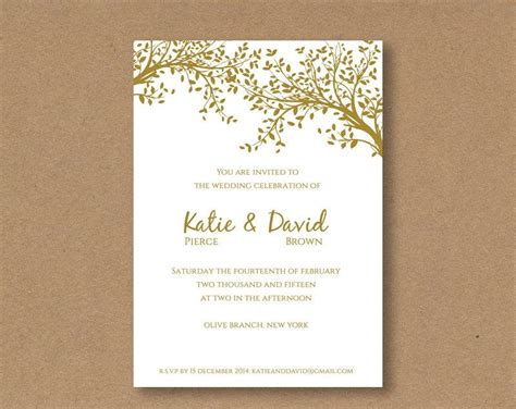 Diy Editable And Printable Wedding Invitation Template Gold Leaves 2422432 Weddbook Editable Wedding Invitation Templates Free