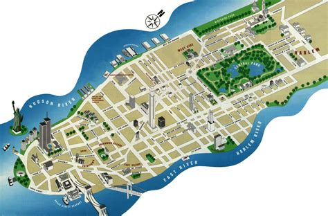 manhattan map detailed tourist map of manhattan manhattan detailed tourist map vidiani maps of all