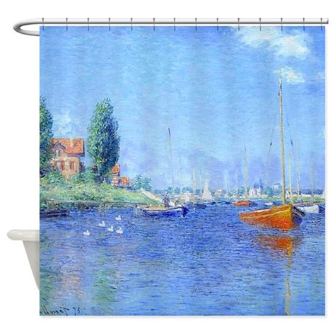 shower curtains for boats red boats argenteuil shower curtain by fractal vicky