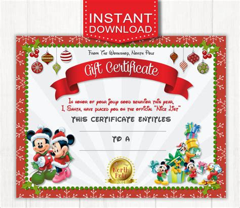 printable disney gift certificates 20 christmas gift certificate templates free sle