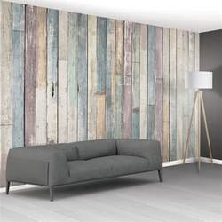 Hanging Wall Murals 1wall shabby chic pastel coloured rustic wood planks mural