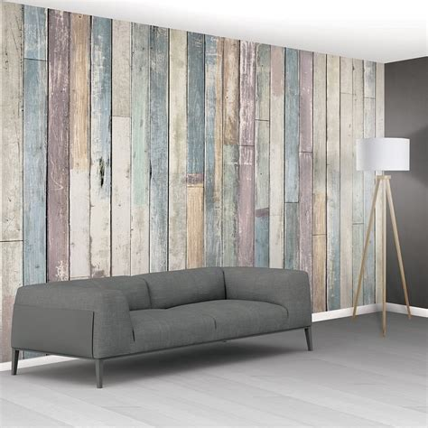 1wall shabby chic pastel coloured rustic wood planks mural