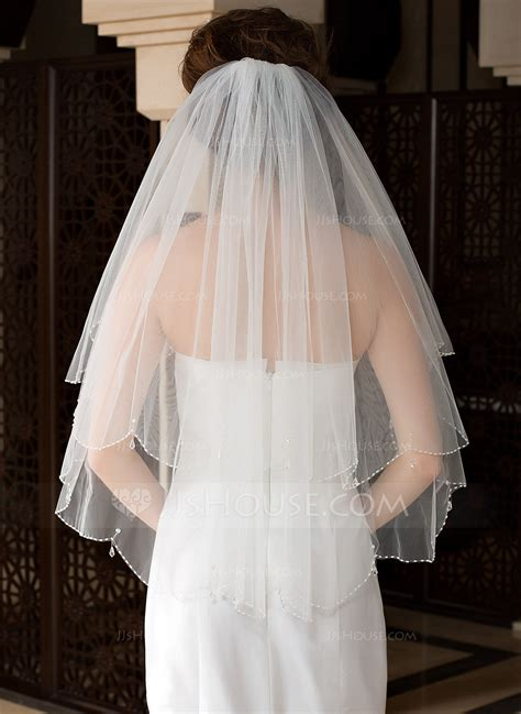 two tier bridal veils with beaded edge 006036615