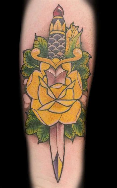cat knife tattoo rose and dagger by matt folse tattoonow