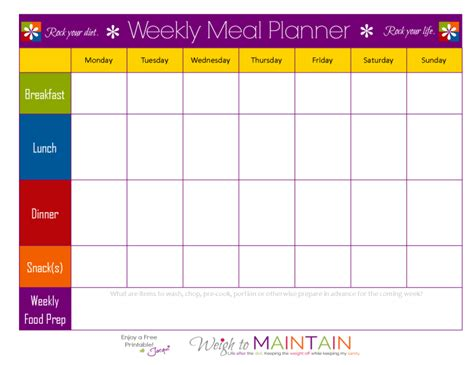 free printable exercise and menu planner free diet and workout planner weigh to maintain