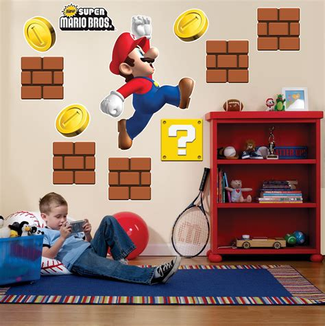mario brothers wall stickers mario wall decals 2017 grasscloth wallpaper