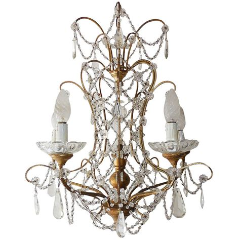 Glass Prisms For Chandeliers Florentine Gilt Wood Prisms Chandelier At 1stdibs