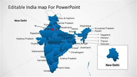 India Map For Powerpoint New Delhi Slidemodel India Map Ppt Template