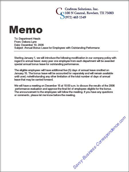 Memo Writing Lesson Are There Types Of Memos