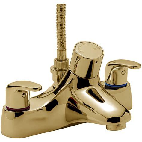 gold bath shower mixer taps tre mercati modena thermostatic flat deck bath shower