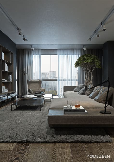A Dark And Calming Bachelor Bad With Natural Wood And Concrete Interior Design Flooring