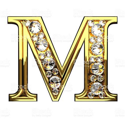 imagenes groseras con letras m letras doradas aisladas con diamantes sobre blanco