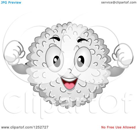 clipart of a strong white blood cell character flexing
