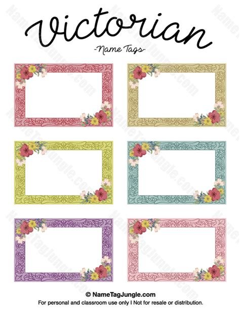 victoarian place cards template free free printable name tags the template can also