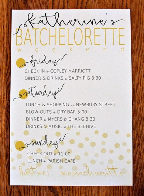 bachelorette itinerary template 25 best ideas about bachelorette itinerary on