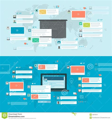 home design social network set of flat design concepts for social network stock